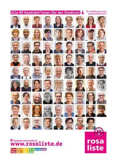 rosa liste - alle 80 Kandidat*innen für den Stadtrat